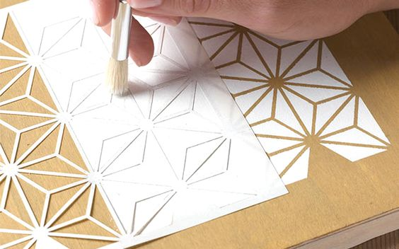DIY to Try: Stenciled Wood Tray: Stenciled Wood, Inspiration, Geometric Stencil Patterns, Dec Tutorials, Stencil Wood, Pattern Stencil