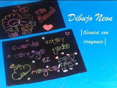 Dibujo Neon Tecnica Con Crayones Youtube Cartulina Negra Manualidades Con Cartulina Detalles De Amor