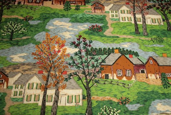 Grandma Moses Mt Nebo on the Hill Vintage by ChenilleBliss on Etsy, $34.50