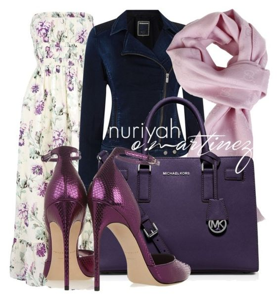 """""""Hijab Outfit #641"""" by hashtaghijab ❤ liked on Polyvore featuring Warehouse, Salsa, Gucci, MICHAEL Michael Kors, Brian Atwood and hijab"""