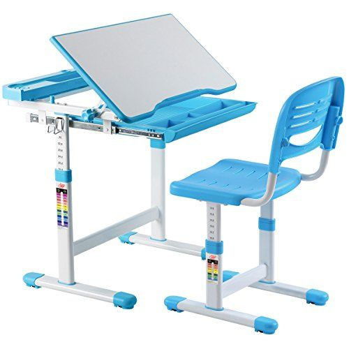 Ayamastro Blue Kids Multifunctional Study Drawing Table Children Desk Set W Adjustable Height Chair Desk And Chair Set Childrens Desk Kids Desk Chair