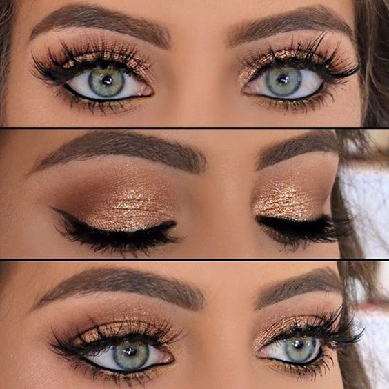9 Color Glitter Eye Shadow Palette Set And Mascara Gold Eye