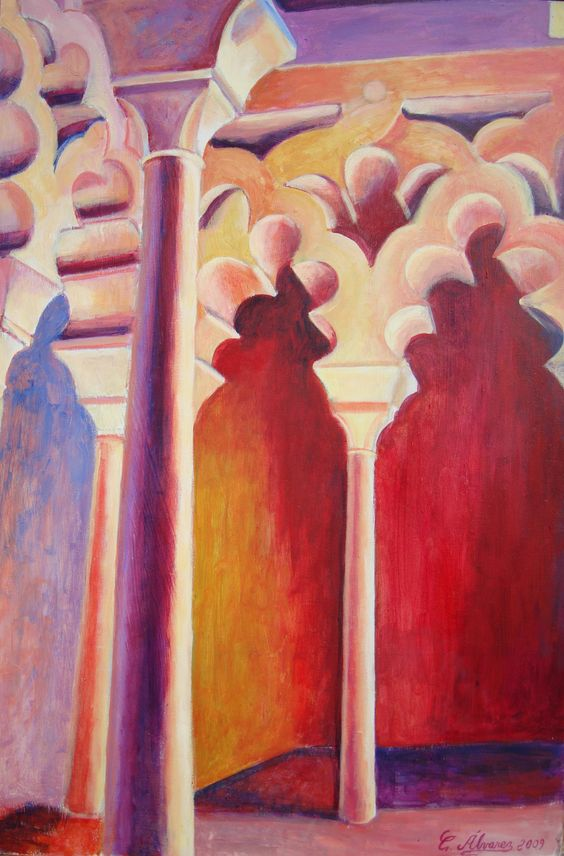 """Arcos polilobulados"" (Multi-lobes archs) de la artista Conchi Álvarez-artist. Acrílico sobre tabla/Acrylic on panel.60 x 40 cm. 2009. Serie de la Alcazaba de Málaga"