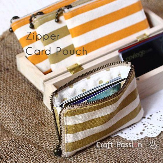 Tutorial: zipper pouch  http://www.craftpassion.com/2012/07/zipper-card-pouch.html/2