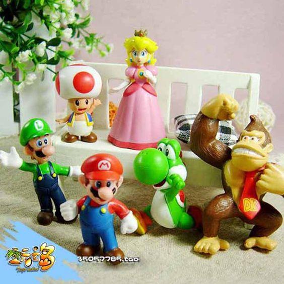 """Exquisite 6 pcs Mini Super Mario Bros 1.5 ~ 2.5 """" figuras de ação Toy boneca presentes Suzie em Ação e personagens de Brinquedos & Lazer no AliExpress.com   Alibaba Group"""