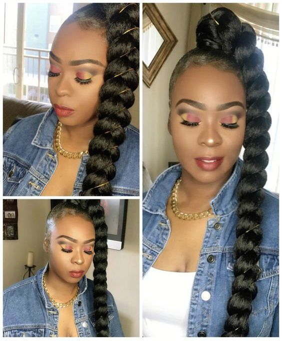 Protective Styling On Natural Hair Goddess Braid Ponytail Braid In Hair Extensions Hair Ponytail Styles