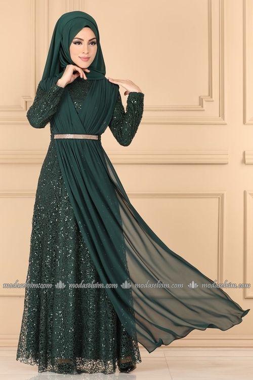 Modaselvim Abiye Kruvaze Detayli Tesettur Abiye 7360eh211 Zumrut Moda Stilleri The Dress Kiyafet