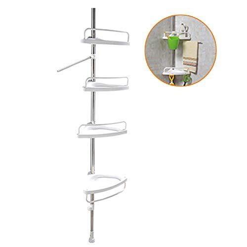 Waqia Oh Constant Tension Corner Shower Caddy Stainless Steel Pole Rustproof White Storage Corner Kitchen Storage Shelves Shower Shelves Corner Shower Caddy