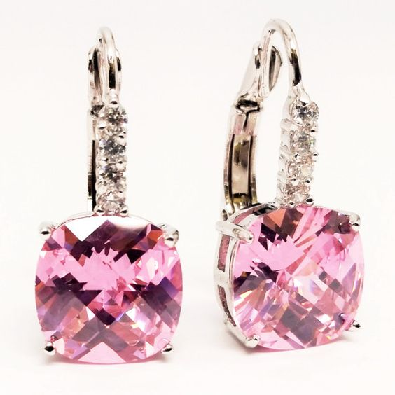 Pure - Swarovski Element Royal Pink Color Drop Earrings