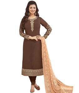 Buy Ayesha Takia Brown Georgette Churidar Suit 74873 online at lowest price from…
