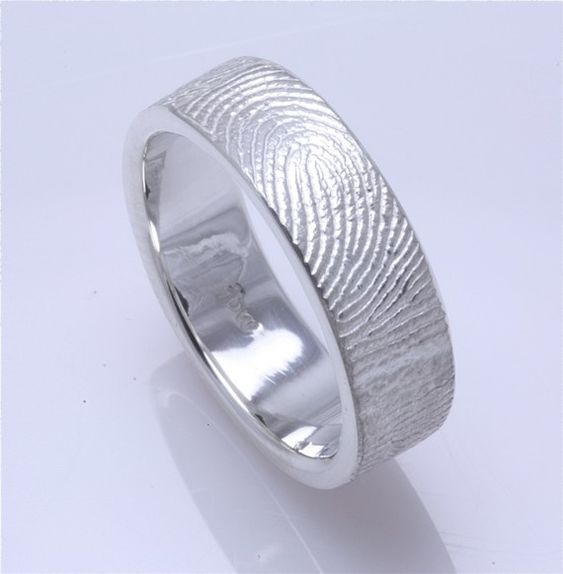 "Fingerprint ring - Can be just the fingertip print or the length of your finger ""you have me wrapped around your finger"" LOVE!"
