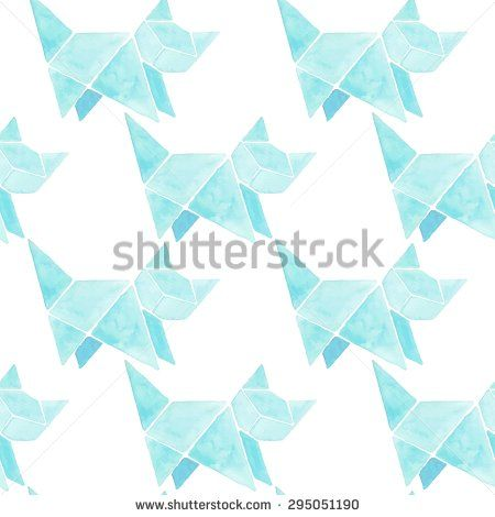 Watercolor origami cat seamless pattern - stock vector