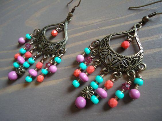 Mint Green, Coral and Pink Chandelier Earrings by BijouxFan on Etsy