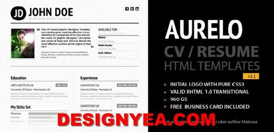 Free And Premium ResumeCv Html Website Templates And Layouts