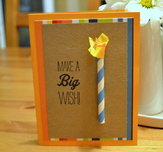 paper straw candle birthday card