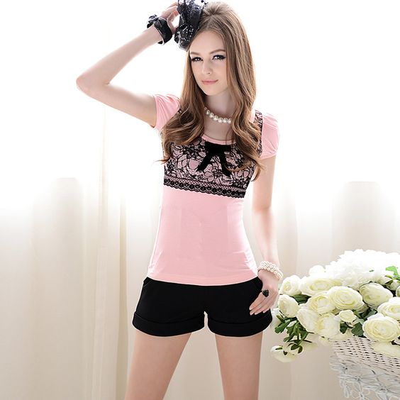 Womens summer Slim fit Bow Lace Round Collar Short Puff Sleeve Tshirt Pink
