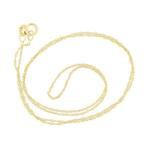 Beauniq 10k Yellow Gold 0 90mm Delicate Rope Chain Necklace 22 Chain Necklace Rope Chain Necklace
