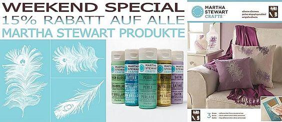 Weekend Special 15% Rabatt auf alle Martha Stewart Produkte im #KreativPLUS Onlineshop! Gültig NUR am SAMSTAG, 20. Dezember und SONNTAG, 21. Dezember 2014  http://www.kreativplus-onlineshop.de/farben/martha-stewart-sortiment.html