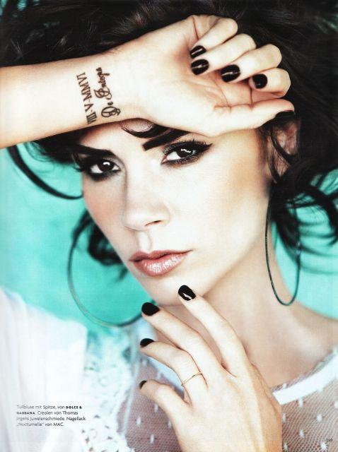 Yine Posh #victoriabeckham #tattoos #wristtattoos: