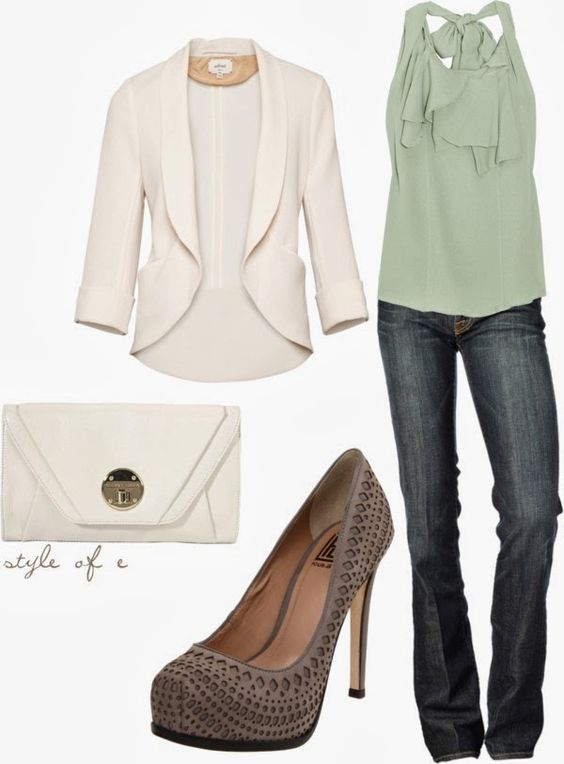 Simple Outfit: Casual Friday, Mint Green, White Blazers, Outfit Idea, Dream Closet, Sophisticated Outfit, Work Outfit