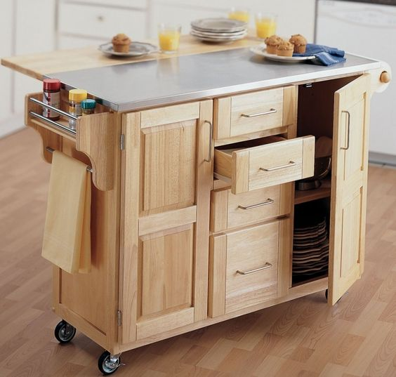 Furniture, Wooden Cooking Table With Open Shelf Stainless Steel Kitchen Table Top 4 Wheels Mobile Kitchen Cart Single Kitchen Towel Holder Kitchen Furniture Set 4 Storage Drawers 2 Doors Flip Top Cutting Board: Stainless Steel Cooking Table for Kitchen