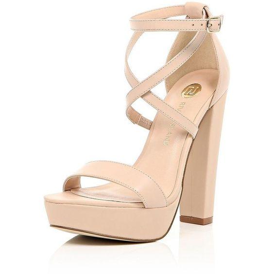 River Island Light pink leather platform heels ($110) ❤ liked on