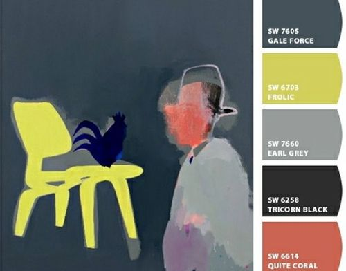 We experimented with Sherwin-Williams' new Chip It! color tool, which creates instant color palettes from any image on the web. We chose four paintings by Australian artist Miranda Skoczek, who works in a mixture of oil, acrylic, and enamel.