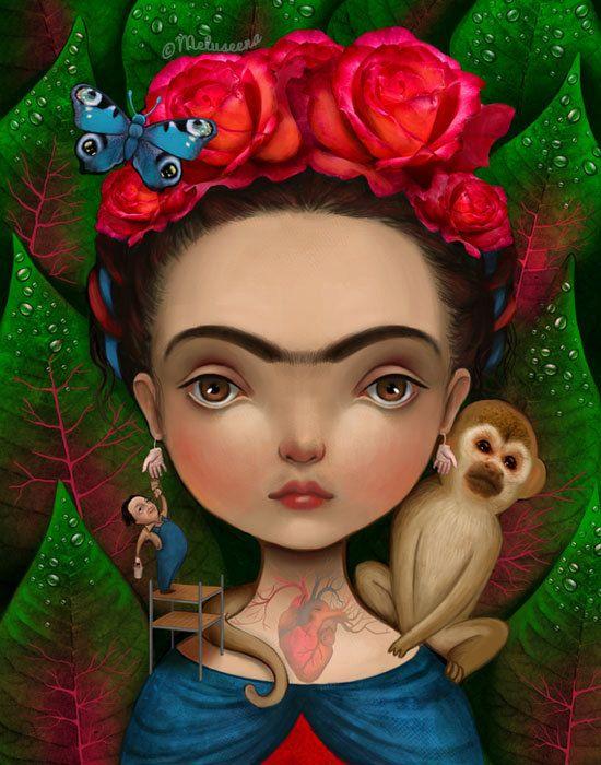Diegito and I  11X14 print  mexican folk art Frida by Meluseena