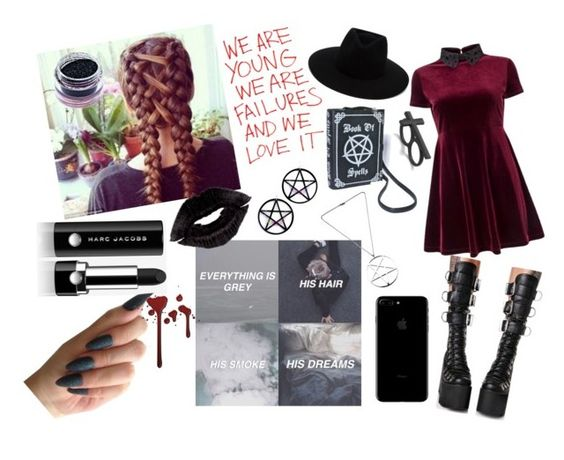 """This is Halloween"" by mermaid-crybaby ❤ liked on Polyvore featuring Miss Selfridge, Marina Fini, Material Girl, Current Mood, rag & bone, Manic Panic NYC, Marc Jacobs, Medusa's Makeup and Kill Star"