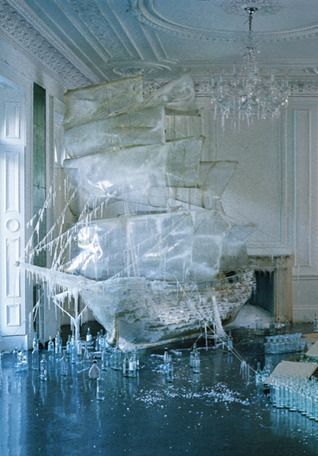 Photograph of an ice sculpture - Tim Walker, photographer.  The narrative, the colour choices, and the movement fused into such wonderful compositions.