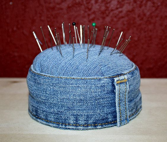 pin cushion...simple denim details, re-use, recycle, the waistline so often goes unused, but not here!: