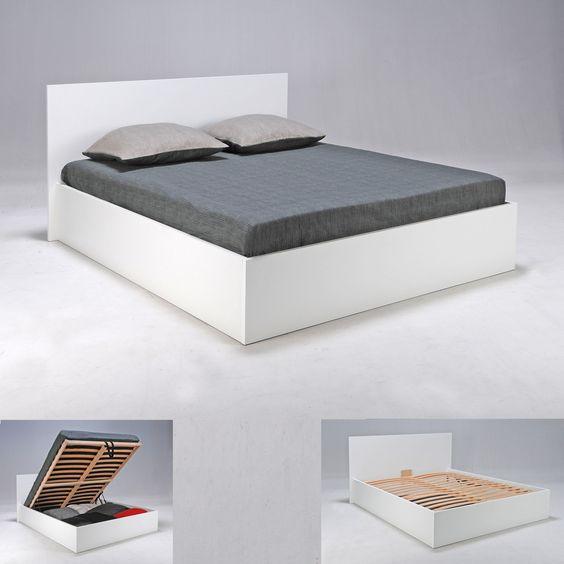Lit Coffre En Hetre Avec Tete De Lit Et Sommier A Latte Bed Furniture Home