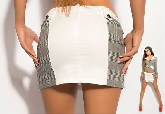Sexy KouCla Business-Minirock mit Karo-Muster Farbe Weiss