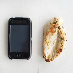 A fun, visual guide to HEALTHY FOOD PORTIONS – like comparing a 4 oz. chicken breast to an iPhone.