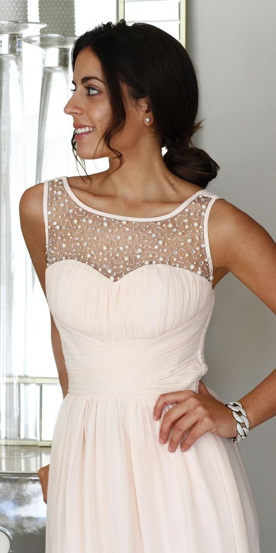 Pearl Detail Summer Style Evening Gown #Fashion