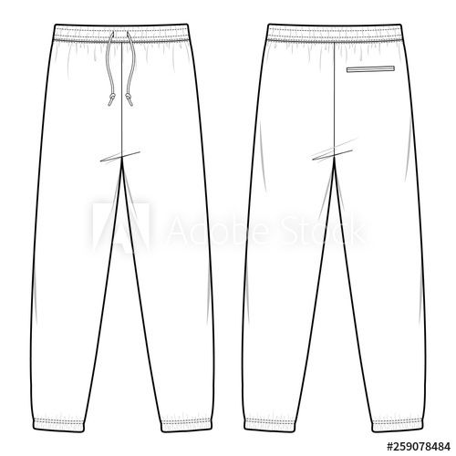 Sweat Pants Fashion Flat Sketch Template Buy This Stock Vector