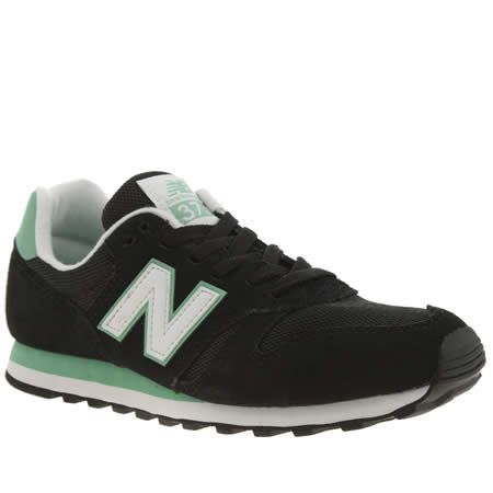womens new balance black & green 373 trainers