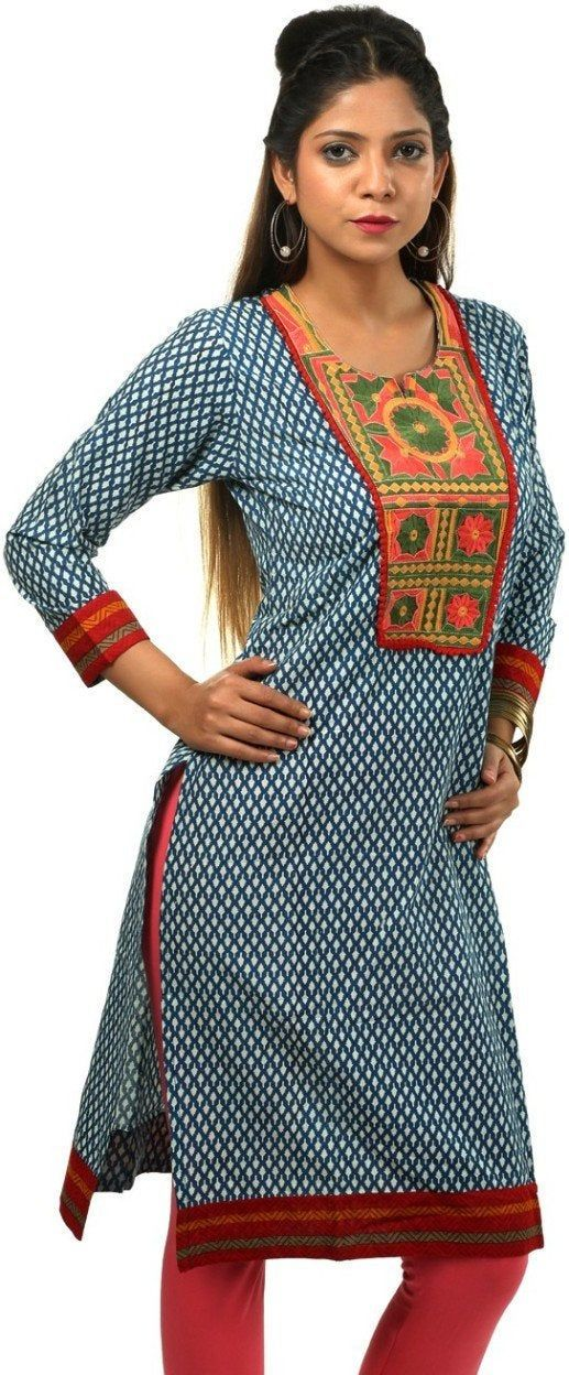 Indian Tunic Top Womens//Kurti Printed Blouse Tops AZDKJD-51S3