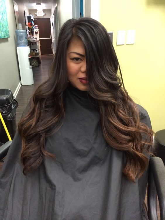 Dark to medium brown balayage on long hair. Hand painted. Done by Theresa Russo