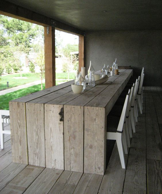 table bois ext rieure en bois recycle all things in the garden pinterest terrasses. Black Bedroom Furniture Sets. Home Design Ideas