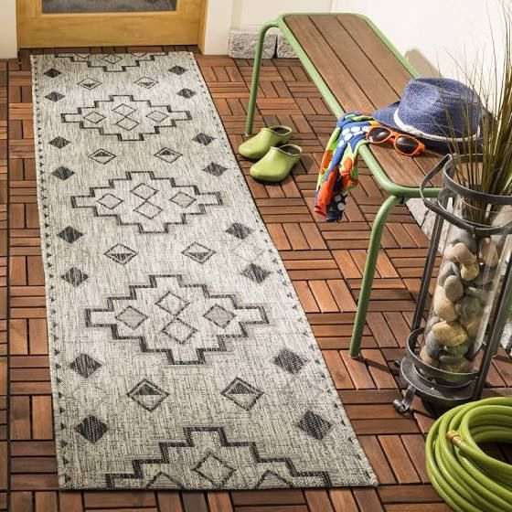 Safavieh Courtyard 2 Ft 3 In X 12 Ft Gray Black 2 X 12 Gray Black Indoor Outdoor Geometric Coastal Runner Google In 2020 Geometric Area Rug Area Rugs Outdoor Rugs