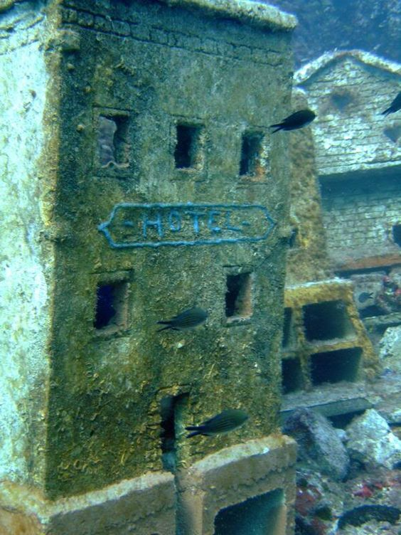 At 30m below sea level, off the Cap d'Antibes, lies the remains of a underwater miniature French town complete with houses and buildings up to 1m high. The aquatic town was built between in 1965 by French filmmakers who wanted to shoot parts of their movie, L'Enfant et la Sirène, on a real underwater film set. The ambitious underwater filming approach was abandoned for animation. Unfortunately, the film-a musical directed by Sylver Néjad Atzamba-never came out and the set was left on the…