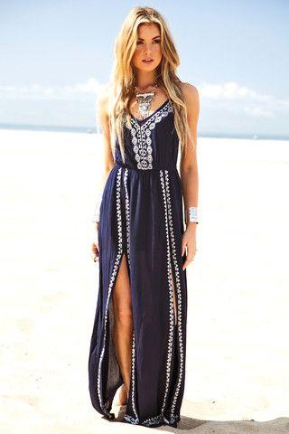 Navy boho chic max dress