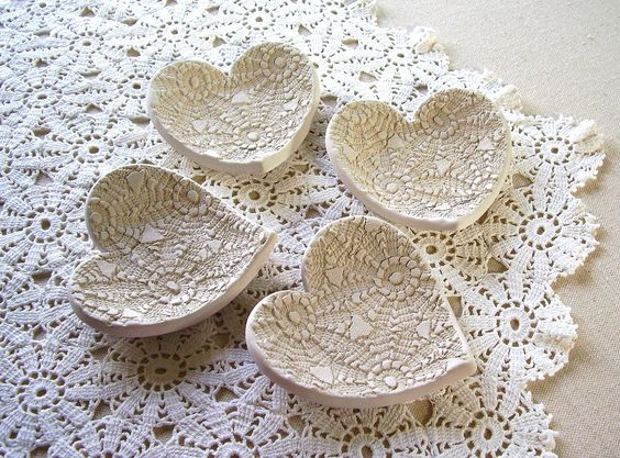 Handmade Pottery Lace Hearts...Palmeida's Lace by Melinda Marie Alexander from Raven Hill Pottery. #pottery #clay #ceramics #hearts