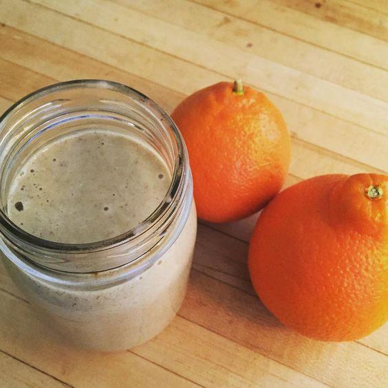 TGIF  orange julius smoothie: 2 tangelos, 2 bananas, coconut milk, chia seeds, hemp seeds, vanilla extract. #2016goals #smoothierecipe #tangeloisthenewblack