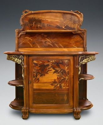 "Emile Gallé, Buffet, ""Harvest"" Nancy, 1904 walnut molded and carved, inlaid polychrome wood, ormolu."
