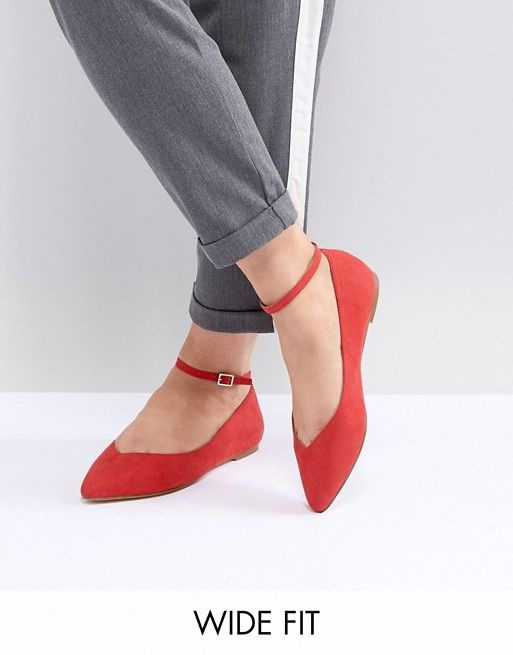 Faith Wide Fit Ally Red Pointed Flat