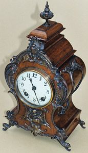 French style bracket clock in walnut, late 19th century, German movement