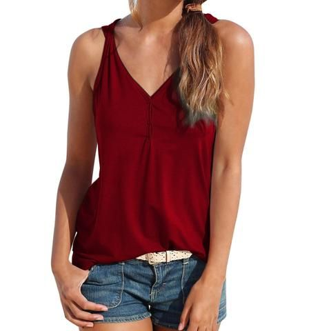 Womens Summer Strappy V-Neck Vest Top Sleeveless Shirt Blouse Casual Tank Tops