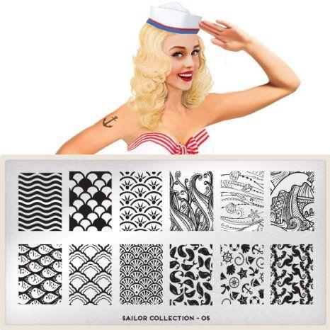 Amazon.com: MoYou-London Nail Art Image Plate Sailor Collection - 05: Beauty